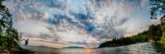 Sunset on the sea landscape of the Pacific Northwest Larrabee State Park panoramic fine art photo print by Visionitaliane, $35.00
