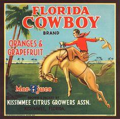 Florida FL - Kissimmee Florida Cowboy Orange Crate Label Art Print - Florida Citrus Fruit Crate Label Art Prints - Fruit and Vegetable Crate Label Art Prints Vintage Florida, Old Florida, Florida Girl, Florida Travel, Florida Maps, Florida Style, Visit Florida, Florida Living, Vintage Labels
