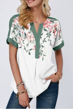Women'S Sage Green Floral Print Notch Neck Short Sleeve Tunic Spring Blouse Contrast Piping Casual Top By Rosewe Contrast Piping Notch Neck Floral Trendy Tops For Women, Blouses For Women, Stylish Tops, Women's Blouses, Formal Blouses, White Blouses, Mode Hijab, Ladies Dress Design, Short Sleeve Blouse