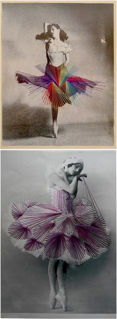 Artist -Jose Ramussi ( vintage photography / Thread / Mixed Media / Art ) * awesome idea