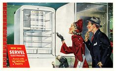 Late 1940 Ad for 1941 model Servel Electrolux gas refrigerator freezer. The freezer is that little space behind the square door that says SERVEL above it, believe it or not. It wasn't meant for long term storage of lots of food. Its main claim to fame was the cooling system was run by gas, not an electric motor, which had moving parts to make noise and potentially break down. They were actually quite popular for a while, especially with apartment house landlords and owners of apartment…