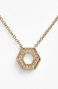 Women's Dana Rebecca Designs 'Jennifer Yamina' Diamond Open Hexagon Pendant Necklace - Rose Gold