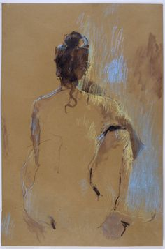 Nicky Basford Brown Nude, Back (FramedP Ink and pastel on brown paper 29 7/8 x 19 3/4 in 76 x 50 cms