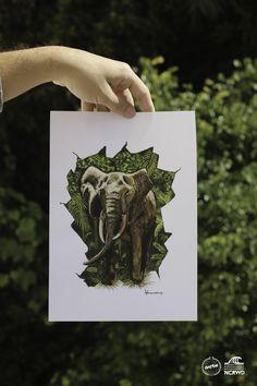 Elefante arte - Arte realista, tinta tempera
