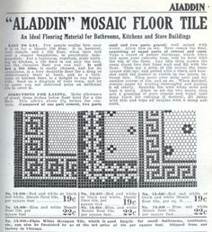 Mosaic floor tile borders from the 1916 Aladdin furnishing catalog. Floor Patterns, Tile Patterns, Bathroom Flooring, Kitchen Flooring, Tile Flooring, Hexagon Tiles, Hex Tile, Subway Tiles, Vintage Bathrooms