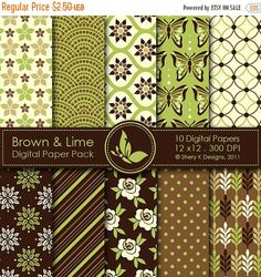 50% off Brown & Lime Paper Pack 10 Digital by SheryKDesigns