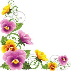 "Photo from album ""Анютины глазки"" on Yandex. Art Floral, Floral Design, Flower Frame, Flower Art, Pansy Flower, Free Art Prints, Borders And Frames, Floral Border, Flower Backgrounds"