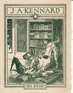Bookplate with Bad Dogs   Content in a Cottage