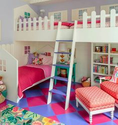 How cute is this cottage inspired bunk room?Credit to Alison Kandler Interior Design. - Home Decor For Kids And Interior Design Ideas for Children, Toddler Room Ideas For Boys And Girls Bedroom For Girls Kids, Teen Girl Bedrooms, Little Girl Rooms, Kids Rooms, Small Childrens Bedroom Ideas, 4 Year Old Girl Bedroom, Unique Kids Beds, Beds For Small Rooms, Teen Bedroom