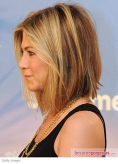 Jennifer Aniston long bob haircut. If you love the messy bob you might want to try Bumble And Bumble Texture Cream!