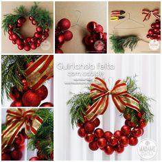 Wonderful DIY Christmas Bauble Wreath With Metal Hanger - See more beautiful DIY Chrsitmas Wreath ideas at DIYChristmasDecorations.net!