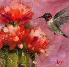 "Krista Eaton, x oil on canvas ""Hummingbird & Cactus Flowers"" Cactus Drawing, Cactus Art, Hummingbird Painting, Red Hummingbird, Hummingbird Pictures, Felt Art, Art Floral, Native American Art, Fine Art Gallery"
