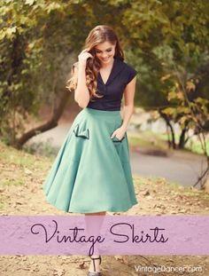 Shop retro pinup vintage style skirts 1930s 1940s 1950s 1960s VintageDancer.com