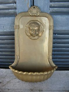 vintage brass wall pocket succulent planter ornate details cherub bohemian indoor outdoor use