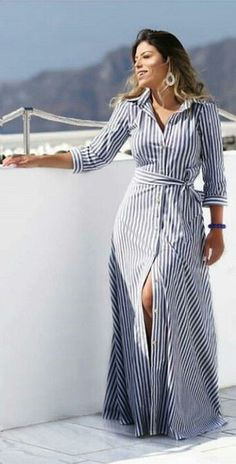 Striped Dresses 2018 Outfits Ideas 43 - Fiveno dress in . - Striped Dresses 2018 Outfits Ideas 43 – Fiveno Plus size dress striped dresse - Mode Outfits, Dress Outfits, Fashion Outfits, Striped Dress Outfit, Stripe Dress, Striped Maxi, Punk Fashion, Lolita Fashion, Fashion Tips