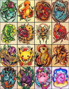 160 desenhos de personagens Pokémon inspirados no universo das tatuagens, por Jazmin Castillo