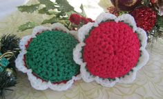 2 Scour Pad Flowers Nylon Scrubbie, Dish Pot Scrubber, Mesh Cleaning Sponge, Crochet Scrub, Kitchen, Bath, Laundry, colorset:Holly by BillyGoatsBuffet on Etsy