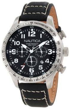 Men's Wrist Watches - Nautica Mens N17616G BFD 101 Stainless Steel Watch with Black Leather Band *** Visit the image link more details. (This is an Amazon affiliate link)