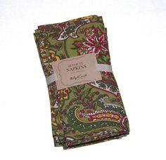 April Cornell Christmas Floral Paisley 100% Cotton Napkins NEW NWT #AprilCornell