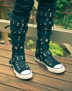 Strappy Converse High Top Sneakers: Yeah, gotta have a little punk rock fashion. Keeps things interesting. :)