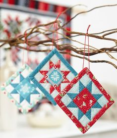 Free pattern for tiny FPP Christmas decorations - A Bit of Cheer - instructions are here: www. Fabric Christmas Ornaments, Quilted Ornaments, Christmas Sewing, Handmade Ornaments, Handmade Christmas, Christmas Decorations, Christmas Quilting, Quilted Christmas Gifts, Farmhouse Christmas Ornaments