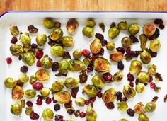 Hemsley&Hemsley Coconut Roasted Sprouts with Cranberries No Carb Recipes, Healthy Gluten Free Recipes, Delicious Vegan Recipes, Fall Recipes, Vegetarian Recipes, Healthy Food, Paleo, Thanksgiving Recipes, Xmas Recipes