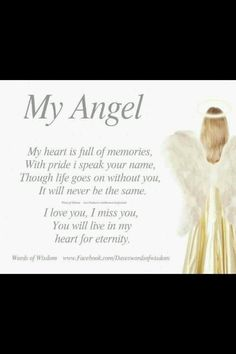 My Angel My heart is full of memories, with pride i speak your name. though life goes on without you, It will never be the same. Loss Of Loved One, Losing A Loved One, Missing You So Much, I Love You, My Love, Missing Dad, Miss You Dad, I Miss Her, Guardian Angel Quotes