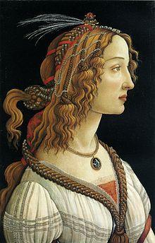 """Sandro Botticelli (1445-1510) """" Ritratto di Simonetta Vespucci"""" ,Tempera su tavola , 82 x 54 cm , Städel Museum, Frankfurt am Main . /// Simonetta Vespucci , nata Cattaneo (1453-1476) ,fu ritenuta dai suoi contemporanei come la più bella donna vivente,; fece da modella a Sandro Botticelli per la Nascita di Venere e numerosi altri dipinti. Fu musa ispiratrice anche per numerosi altri artisti, tra cui Piero di Cosimo"""