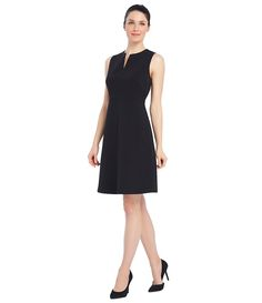 Ellen Tracy Seasonless Stretch Split Neck A-Line Dress