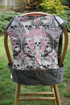 Mei Tai Baby Carrier Pink and Grey Skulls by by KataraBaby on Etsy, $69.98