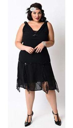 Unique Vintage Plus Size Black Hemingway Flapper Dress