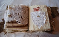 Rags And Lace Vintage Fabric and Paper Art Journal by AnnieHamman