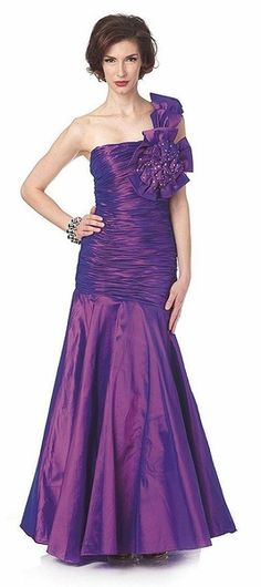 Single One Shoulder Purple Formal Dress Special Occasion Taffeta Form Fitting Mermaid $189.99