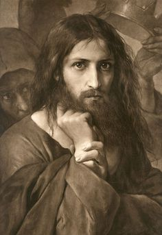 This is the first version of the painting Lord Jesus Christ by Georg Cornicelius. The reason He appears so severe, is that the devil, is behind Him, offering the kingdoms of the world. Pictures Of Jesus Christ, Religious Pictures, Names Of Jesus, Jesus Face, God Jesus, Catholic Art, Religious Art, Spiritual Images, Jesus Christus