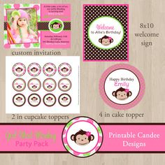 DIY Mod Monkey Girl Birthday Party Pack  by printablecandee, $30.00