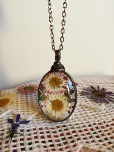 Pendants – Necklace, Pendant, Daisy Flower, Fern – a unique product by…