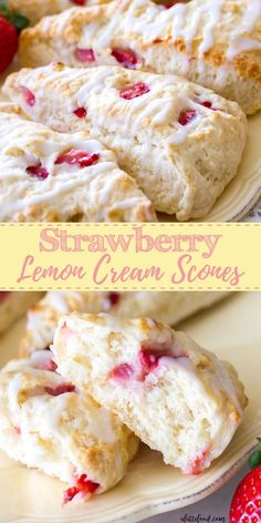 easy strawberry lemon cream scones are made with fresh strawberries and topped with a homemade lemon glaze! These homemade strawberry scones make an easy breakfast recipe, brunch dish, or afternoon snack! This is one of my favorite classic scone recipes! Mini Desserts, Just Desserts, Strawberry Scones, Strawberry Breakfast, Fresh Strawberry Recipes, Strawberry Bagels Recipe, Lemon Strawberry Cake, Recipes With Fresh Strawberries, Strawberry Ideas