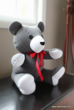Teddy bear made from grandfather's shirt