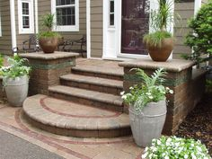 Sylvan Lake decorative paver porch & steps from Domenico Brick Paving in Drayton Plains, MI 48330 Concrete Patios, Cement Patio, Front Porch Steps, Front Walkway, Front Yard Landscaping, Landscaping Ideas, Front Entry, Brick Steps, Wood Steps