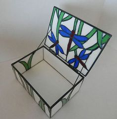 01e2a2b6dbfc Stained Glass Leaded Dragon Fly Trinket Box with Lid