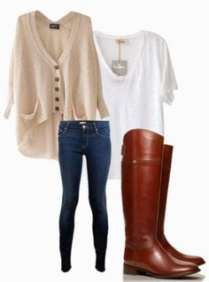 Light brown oversize cardigan, white blouse, jeans, and dark brown long boots for fall Fun and Fashion Blog by AislingH