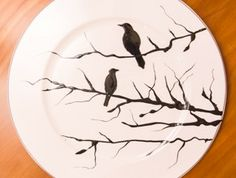 B&W Birds on a Branch: hand painted plates by Canadian artist Jacqueline Poirier