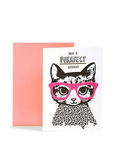Kitten in Glasses Purrfect Birthday Card