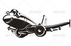 Vector Cartoon Airliner. Available hi-res JPG, transparency PNG, EPS-8, vector formats separated by groups and layers for easy edi