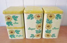 vintage sunflower canister set. $22.00, via Etsy.