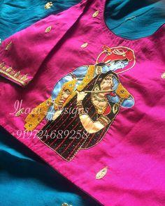 Can't help falling in love with this intricately customise handcrafted Lord Radha Krishna embroidered blouse #HandCraftedWithLove #HandWork #HandworkDesign #HandPainted #HandMade #SilkSaree #CustomiseBlouse #Fashion #Antique #ZardosiWork #ZariWork #DevineIkaai #IkaaiDesigns #Bardoli