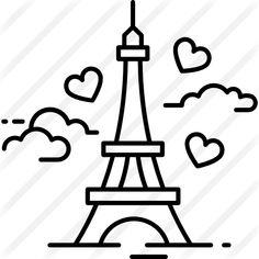 Eiffel tower premium vector icon designed by istar_design_bureau Art Drawings Sketches Simple, Mini Drawings, Kawaii Drawings, Doodle Drawings, Doodle Art, Cute Little Drawings, Easy Drawings For Kids, Eiffel Tower Photography, Dancing Drawings