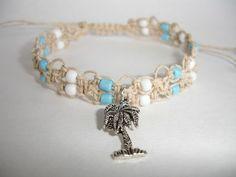 Macrame Bracelet  Cream Hemp Cord  Palm Tree by LOVEwhatIdoDesigns
