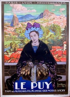 Vintage Travel Poster - France - Le Puy, vintage travel poster, Neziere,  c1910