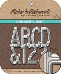 Metallic+Frost+Alphabet+-+$2.25+:+Peppermint+Creative,+Digital+Scrapbook+Supplies